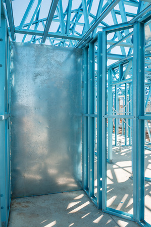 residential home: New residential construction home metal framing.Fragment Stock Photo