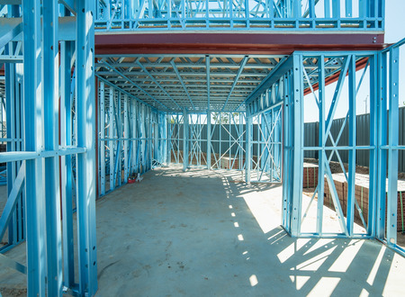 New home under construction using steel frames Banco de Imagens