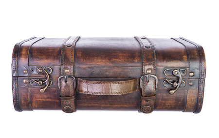 duffel: retro wooden suitcase isolated on white background