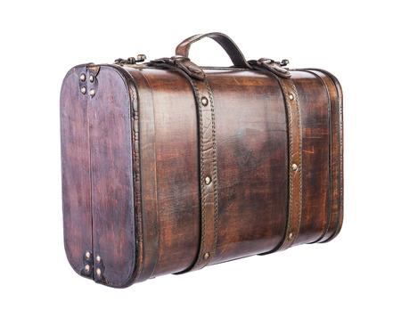 antique suitcase: retro wooden suitcase isolated on white background