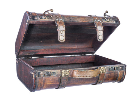 retro wooden suitcase isolated on white background  photo
