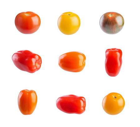 cherry varieties: Multicolored cherry tomatoes isolated on white background