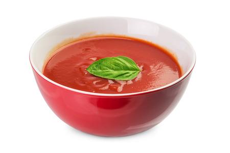tomato soup: bowl of  fresh tomato  soup isolated on white Stock Photo