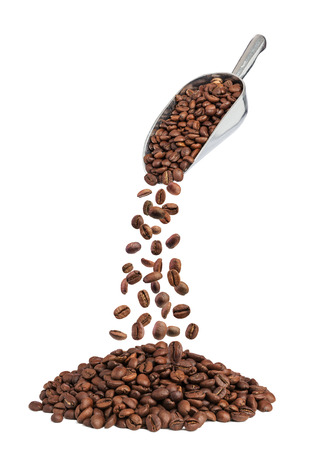 roasted coffee beans falling down from metal scoop isolated on white Banco de Imagens