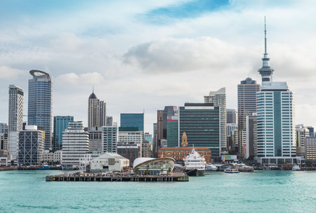 skyline of Auckland with city central business district at the noon