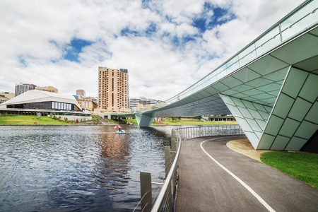 Adelaide downtown view from river Torrens at cloudy noon