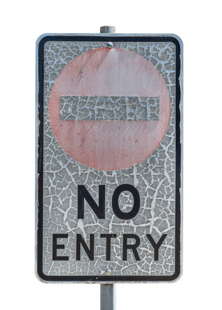 craquelure: old no entry traffic sign with paint craquelure on white  background
