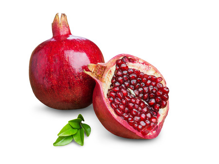 a pomegranate: Juicy pomegranate fruit isolated on a white background