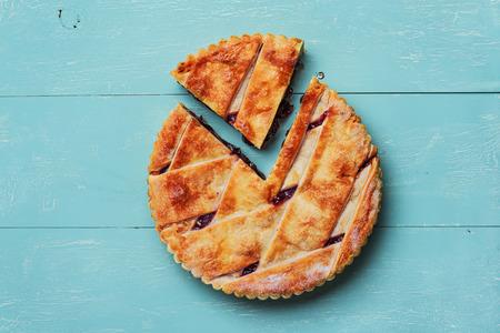 Fresh homemade cherry pie on vintage wooden background. photo