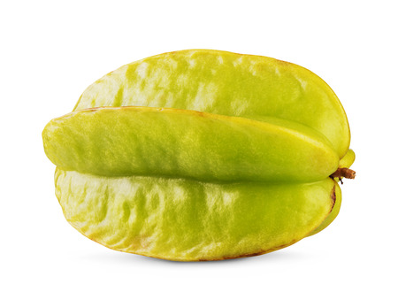star fruit: Yellow-green carambola star fruit isolated  on white background