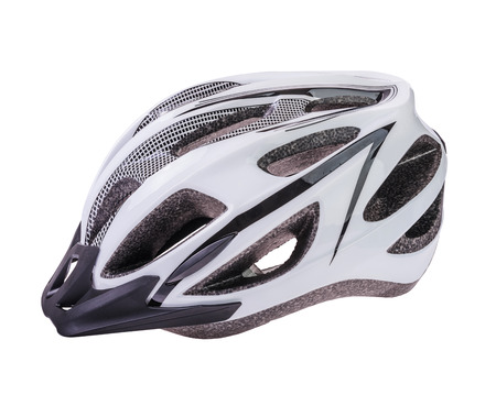 leisure wear: Bicycle Helmet in Black and  White colors  Isolated On a White Background