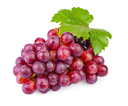 bunch of ripe red grapes with leaves isolated on  white background Banque d'images