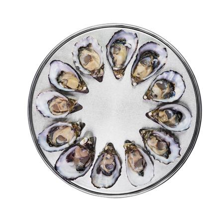 ostra: docena de ostras frescas en especial de cocci�n y la bandeja met�lica que sirve vista desde arriba aislados Foto de archivo