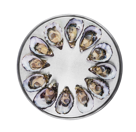 oyster shell: dozen fresh oysters on special cooking and serving metal tray isolated top view