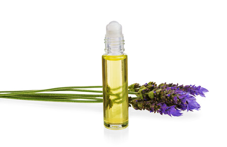and anxiety: essential oil and  fresh lavender flowers as natural aromatherapy isolated on white background
