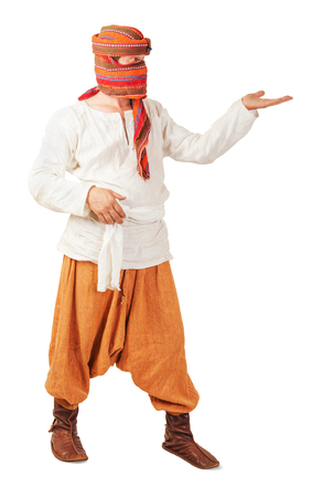 Orient peasant wearing in national clothes isolated photo