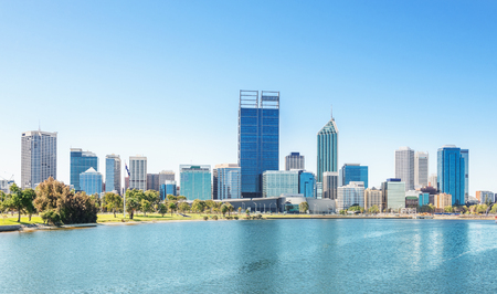 australia: skyline of Perth with city central business district at the noon