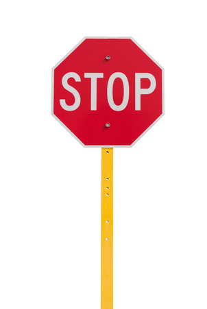 a sign: stop sign with reflective surface on yellow pole isolated on white background