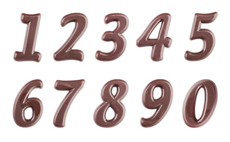 Real dark chocolate digits set isolated on a white background Stock Photo