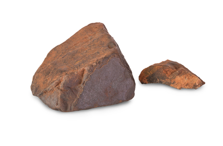 magnetite: Two pieces of iron ore isolated on white background