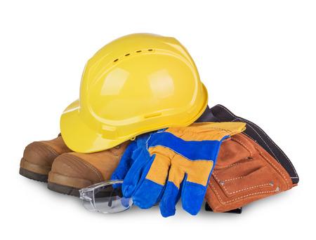 elementos de protección personal: Equipo de seguridad industrial y de la construcción aislada en el fondo blanco Foto de archivo
