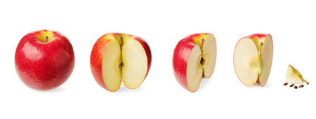 half: Fresh whole apple, cut in a half,three-quarter, quarter, up to zero isolated on white background Concept of the decreasing, reduction or subsidence and stages of a process