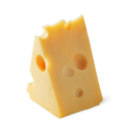 queso blanco: Pieza de queso con agujeros aislados sobre fondo blanco Foto de archivo