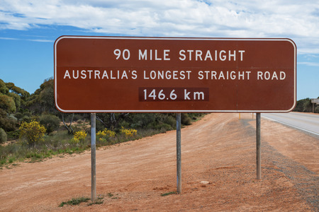 western australia: Road sign at the longest straight road in Australia.