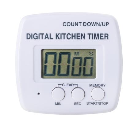 plastic kitchen digital timer isolated on white background Stock Photo