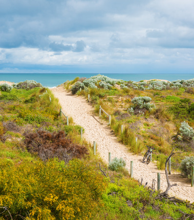 Beautiful scenic view of the dunes with lush flowering vegetation .Western Australia near Perth.Top  view.