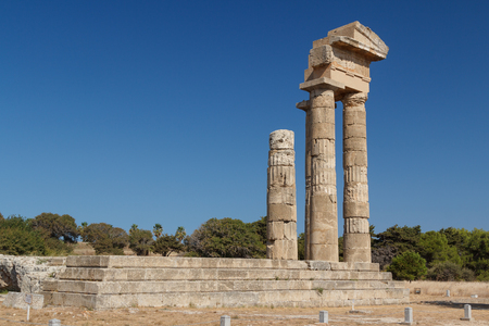 Ruins of the ancient acropolis in Rhodes town, Rhodes island, Greece 版權商用圖片