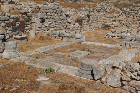 Ruins of the Ancient Thira town, Santorini island, Greece