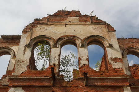 Ruined manor house in Gostilitsy, Leningrad (St. Petersburg) region, Russia