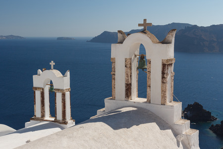 Traditional church in Cyclades style, Oia village, Santorini island, Greece