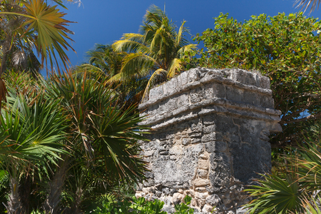 Ruins of the ancient Mayan city of Xcaret, Mexico