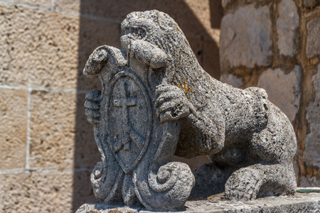 Old sculpture on Our Lady of the Rocks island in Kotor bay, Perast, Montenegro Stock Photo