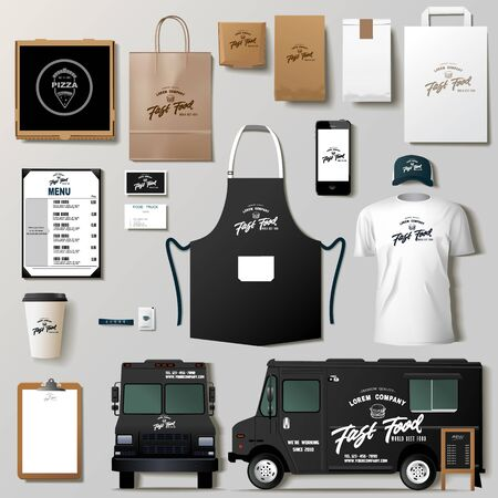 Ensemble de conception de modèle d'identité d'entreprise de camion de nourriture de vecteur. Maquette de marque. Vecteurs