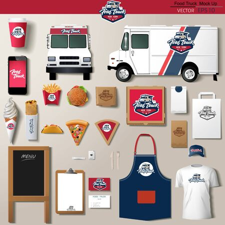 Vector food truck corporate identity template design set. Branding mock up. Ilustração