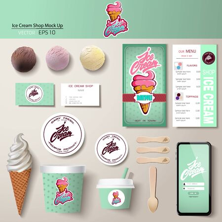 Vector ice cream corporate identity template design set.