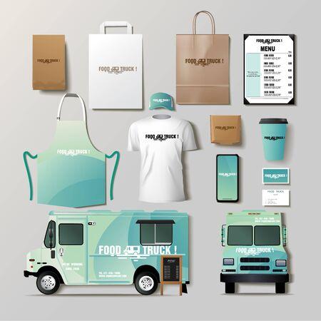 Ensemble de conception de modèle d'identité d'entreprise de camion alimentaire de vecteur.