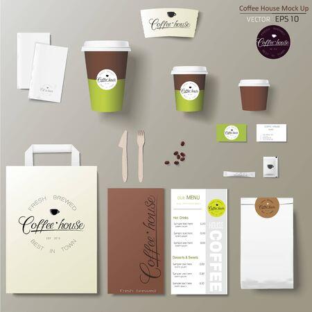 Insieme di progettazione del modello di identità corporativa della caffetteria con la calligrafia.