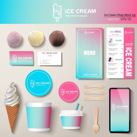 Vector ice cream corporate identity template design set. Branding mock up