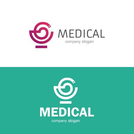 Medical pharmacy  with snake template. Vector illustrator. Ilustração