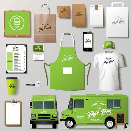 Vector food truck corporate identity template design set. Vettoriali