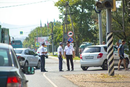 Anapa, Russia-08.21.2019: traffic police stop traffic violators at an intersection