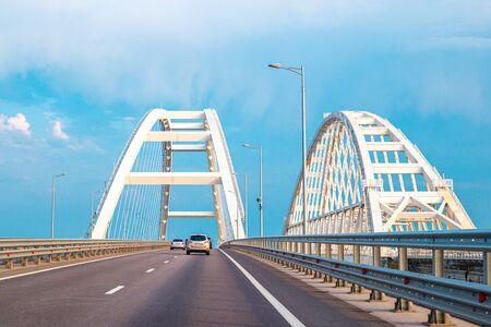 Crimean new automobile and railway bridge across the Kerch Strait in Russia
