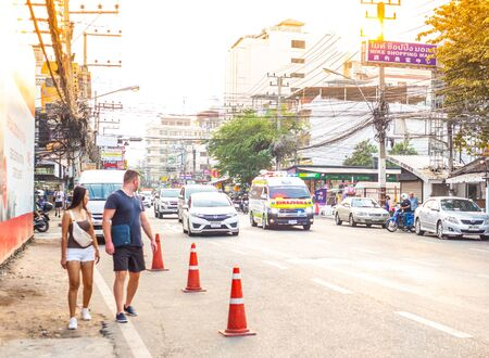 Pattaya, Thailand- 01/20/2020: an ambulance travels along a city street to call