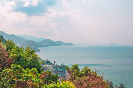 view point on the mountain of Koh Chang island in Thailand, view of the sea and mountains, the beauty of Asian nature