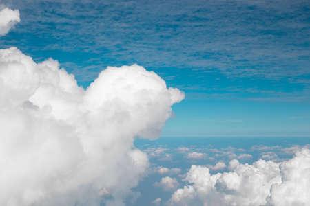 cumulus clouds in the blue sky, top view