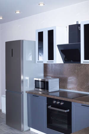 furniture and household appliances in the kitchen, home design and interior.